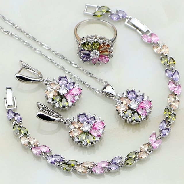 Sterling Silver Multicolor Cubic Zirconia Jewelry Set