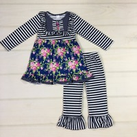 New Fashion Spring Girls Boutique Outfits Bib Print Ruffle Dress With Button Navy Blue Striped Cotton