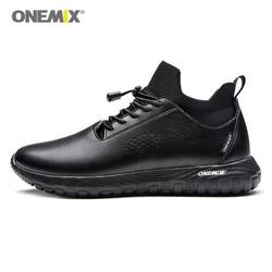 Onemix buty do biegania dla mężczyzn czarny skóra z mikrofibry projektant Trail buty do biegania sportowe na świeżym powietrzu trekking skarpety trenerzy|Buty do biegania|   -