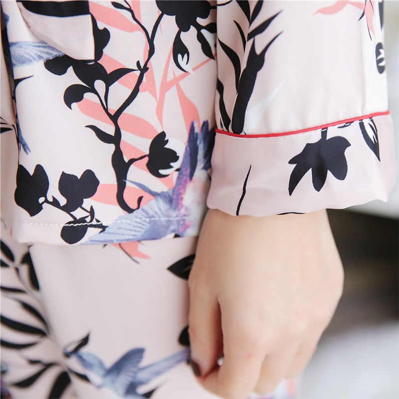 2 adet/takım Buz Ipek Pijama Seti Uzun Kollu Gömlek Pantolon Takım Elbise Gecelik Kadın Artı Boyutu Elbise Pijama İlkbahar Yaz Gecelik # F