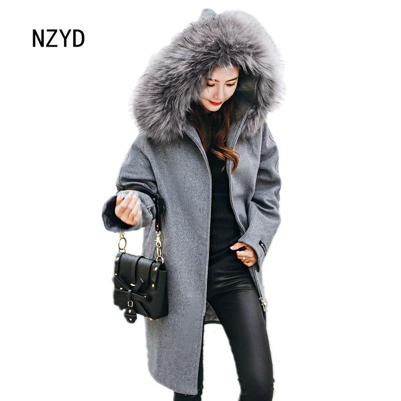 Pieles mujeres Otoño abrigo de lana Invierno capucha de nueva 2017 Hqw5q8