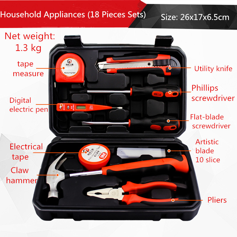 18 pieces household tools set electrician maintenance manual