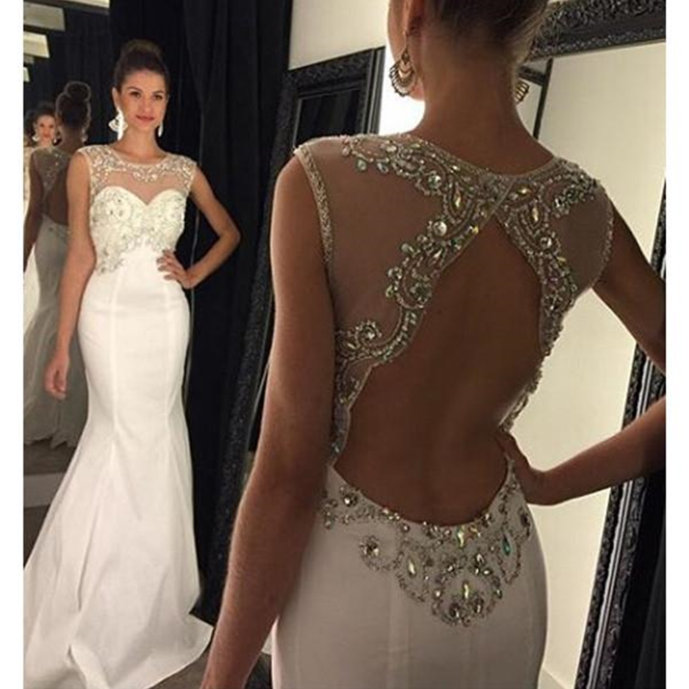 Scoop Long   Prom     Dresses   Sleeveless Mermaid Open Back Sweep Train Beading Crystals Evening Formal Party   Dress   Vestido De Fiesta