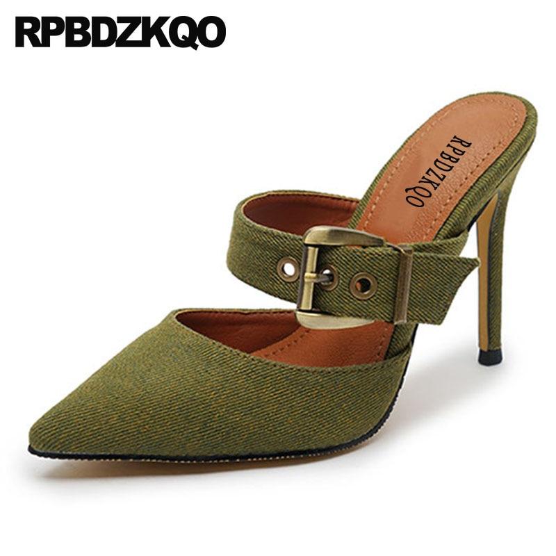 Mules bleues chausson bout pointu extrême vert denim chaussures ultra 8 cm sexy escarpins stiletto grande taille ceintures super dames talons hauts