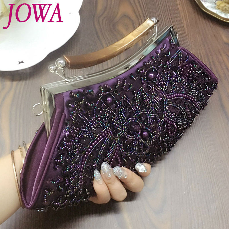 2017 New Design Womens Evening Bags Vintage Beading Sequined Totes Wedding Party Socialite Clutches Ladies Night Purse 2 Colors