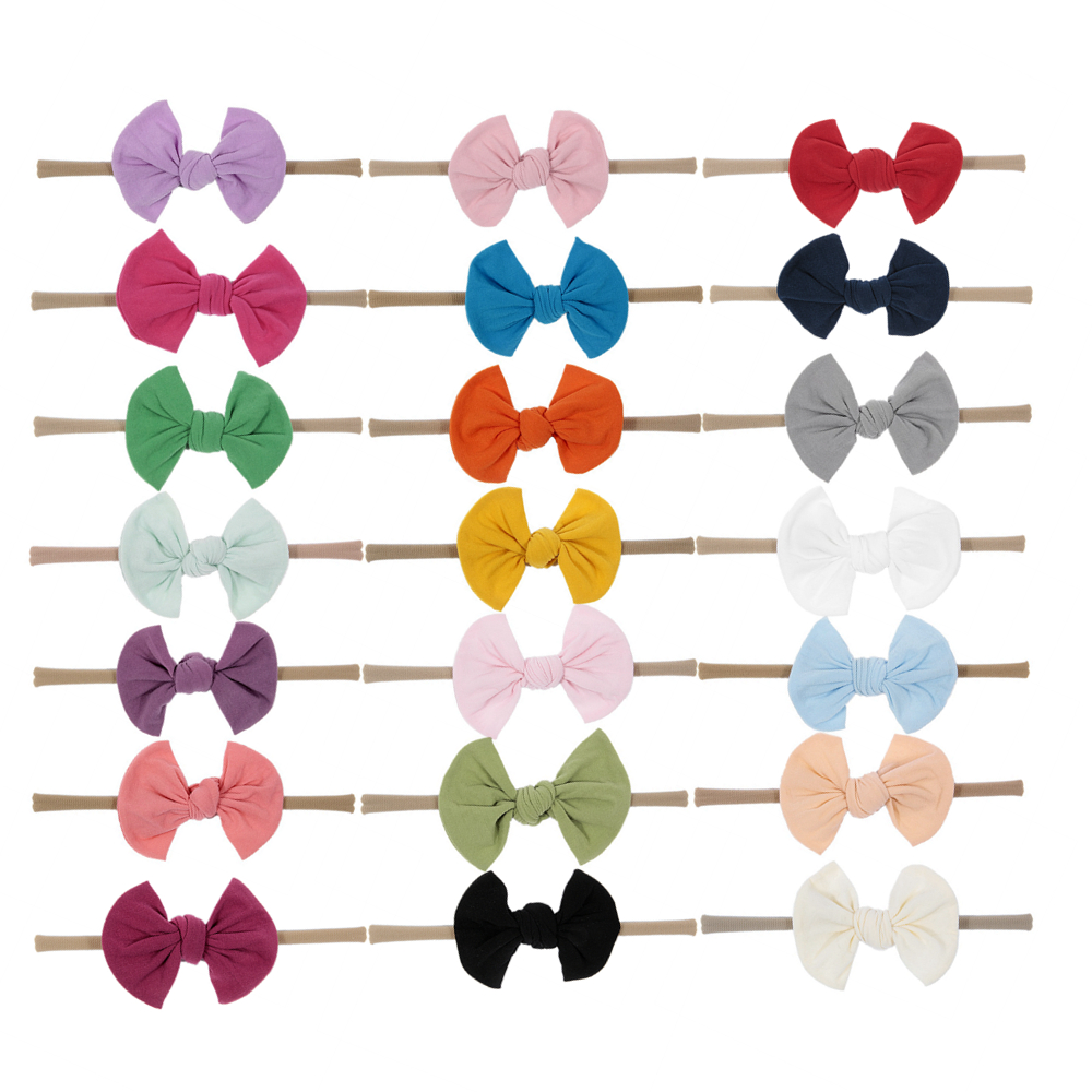Nishine 10pcs/lot Newborn Hair Bows Headband Elastic Chiffon Bow Nylon Kids Handmade Headbands Hair Accessories Christmas Gift