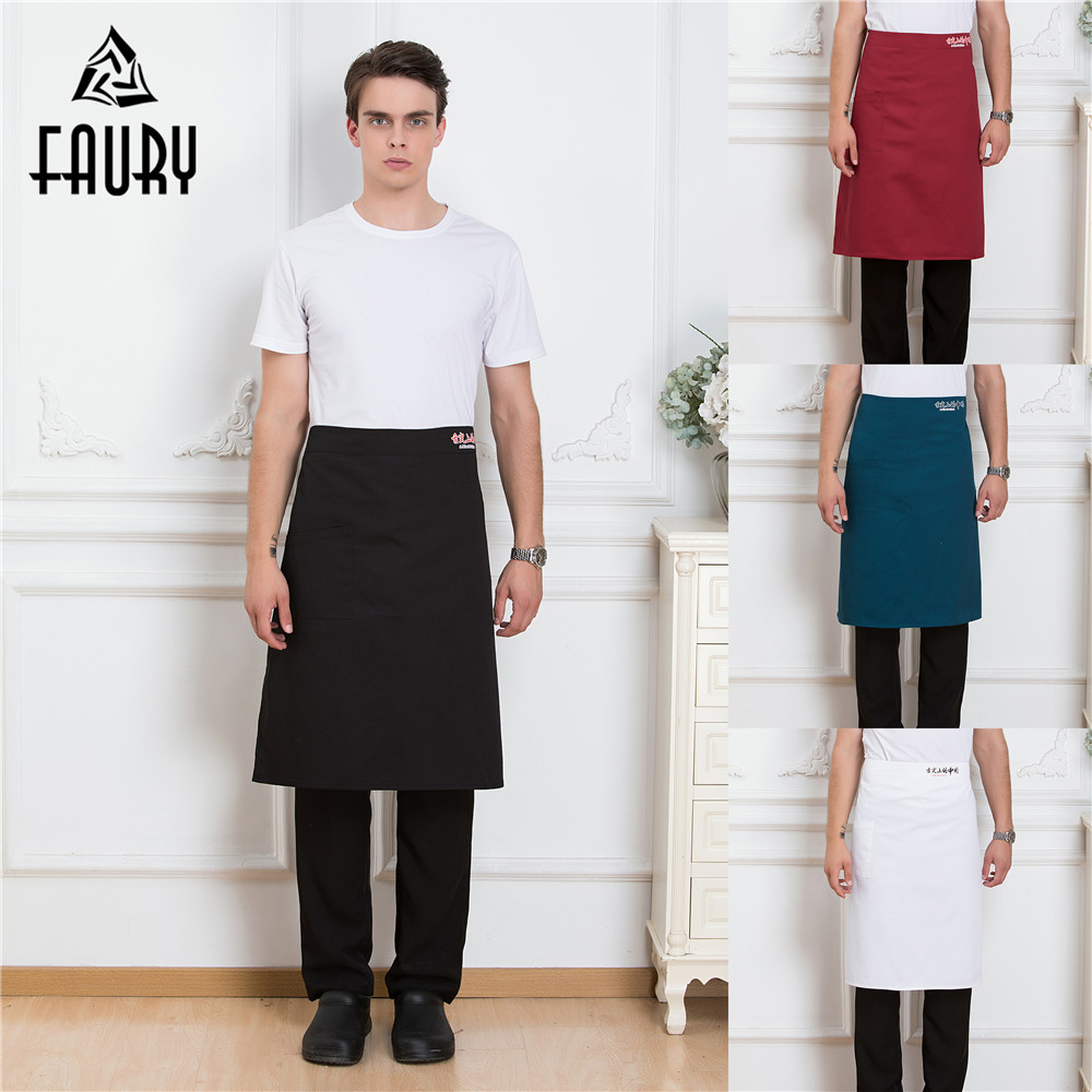 Chinese Style Restaurant Kitchen Waiter Chef Cooking Half Aprons High Quality Unisex Canteen Cuisine Workwear Uniforms Apron