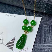 Ожерелье shilovem с натуральной зеленой яшмой из 18 каратного