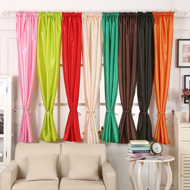 High Quality 1Pc Window Curtain Semi Blackout Solid Satin Fabric For Home Decoration Living Room