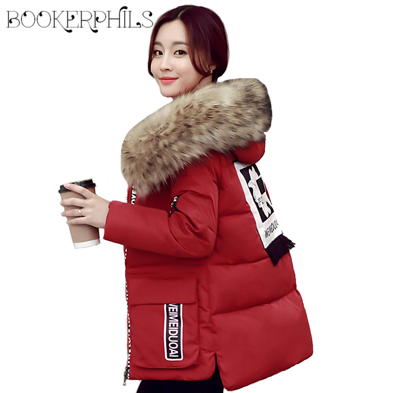 2017 Fake Raccoon Fur Collar Winter Jacket Women Parka Plus Size Thick Warm Cotton Snow Wear Female Coat Lady Clothing 4XL 5XL new 2017 winter women coat long cotton jacket fur collar hooded 2 sides wear outerwear casual parka plus size manteau femme 1858