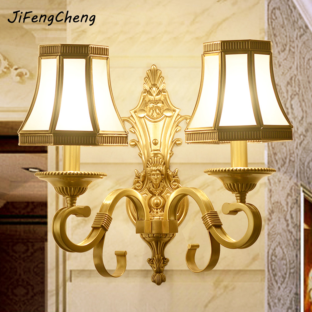 JIFENGCHENG European-style Copper Wall Lamp American Living Room Wall Lamp Jane E14 Bedroom Dining Room Study Wall Lamp