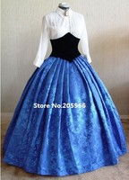 2014 Rushed Time limited Full Custom Made Gorgeous Civil War Style Royal Floral Brocade Victorian Ball Gown