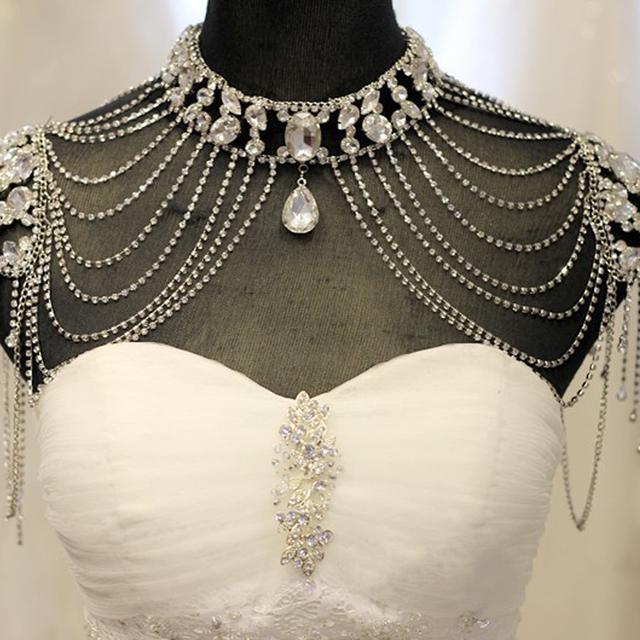 Vintage Shoulder Chains Big Necklaces Pendant Long Necklace Wedding Shoulder Strap Bridal Accessories New Fashion Bride Jewelry