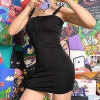 Black Solid Buckle Spaghetti Strap Dress Women Sleeveless Bodycon Backless Mini Dress 2019 Summer Fashion Sundress Rave Clothes