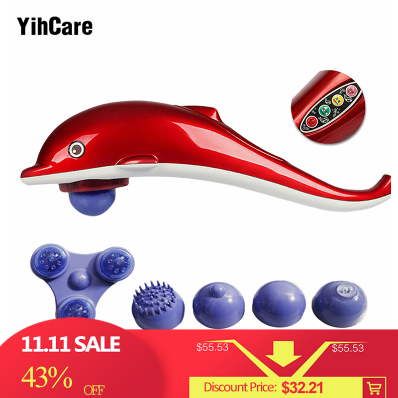YihCare Full Body Massager Dolphin Electric Cervical Vertebra Massage Device Infrared Massage Hammer Stick Back Relax Instrument electric neck massage dolphin massager hammer vibration body back leg arm massage stick roller cervical vertebra massager device