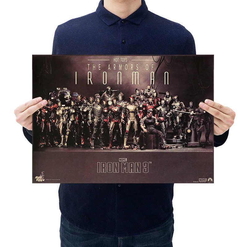 DLKKLB マーベル作品ビンテージポスターアベンジャーズコレクション 51.5 × 36 センチメートル戦争ステッカーバーカフェホームスーパーヒーロー装飾絵画