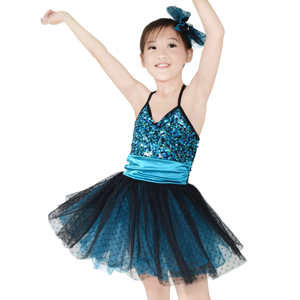 MiDee Sequin Kids Dance զգեստ Black Polka Dot Over Turquoise Tulle Dress Girls Dance Costumes