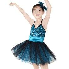 Mideeスパンコール子供ダンスドレスブラックポルカドットオーバーwedingパーティードレス女の子のダンス衣装