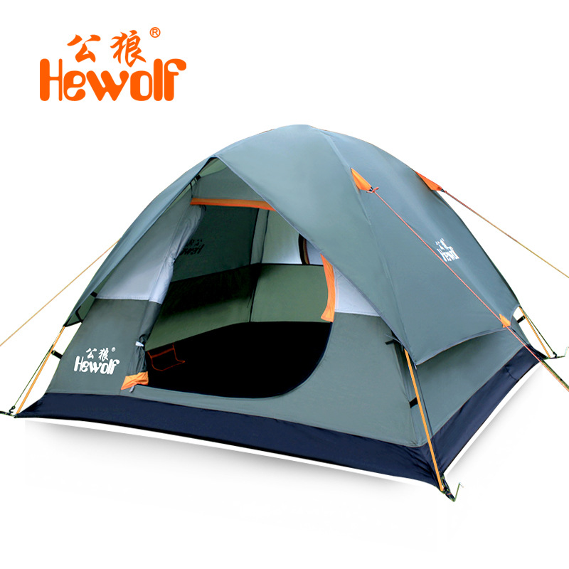 Hewolf Outdoor Camping Tent 3 4 Person Double Layer Waterproof Aluminum Rod Family UV Beach Tent Tourist Travel Hiking 3Colors brand 1 2 person outdoor camping tent ultralight hiking fishing travel double layer couples tent aluminum rod lovers tent