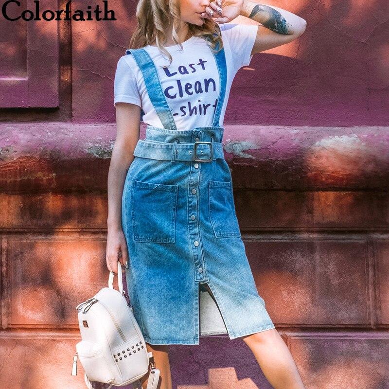Colorfaith 2019 новый осень весна Для женщин ремень платье Повседневное спагетти кнопки пояс джинсовые Высокая Талия спинки платье миди DR6215 купить на AliExpress