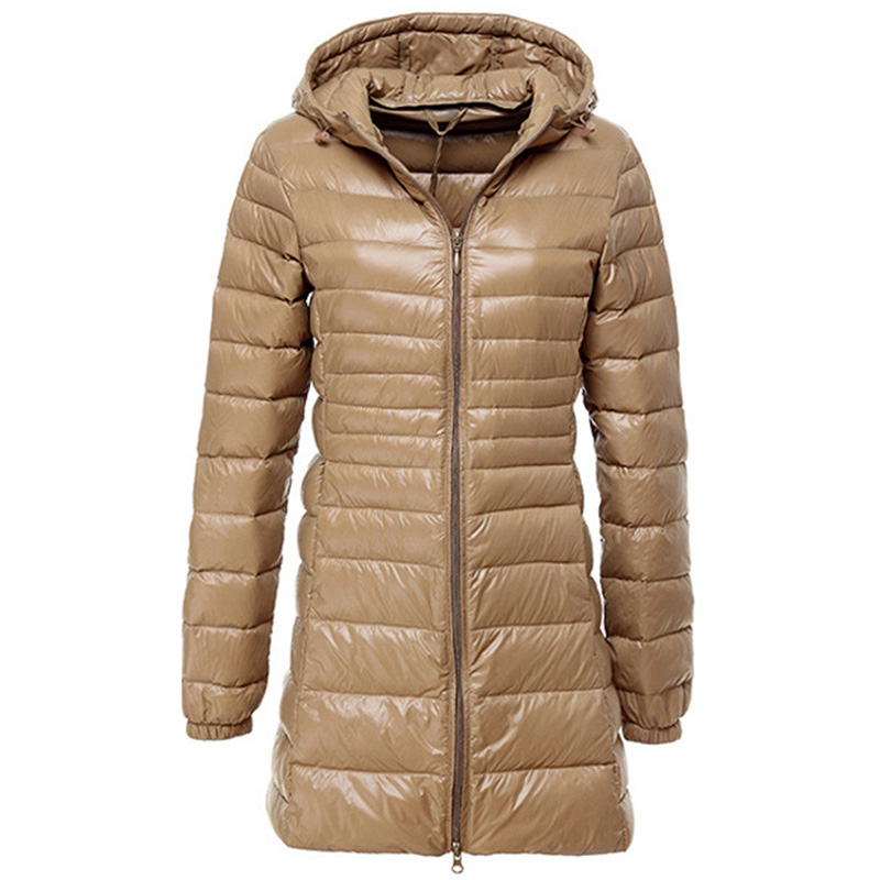 2017 Fashion Slim Autumn Winter Warm Wadded Jackets Parkas Thin white   Down   Jacket Women Wadded Solid Hooded   Down     Coats   MA0031