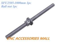 25mm 2505 Ball Screw Rolled C7 ballscrew SFU2505 1000mm plus 1pc Single Ballnut for the support BK20 / BF20