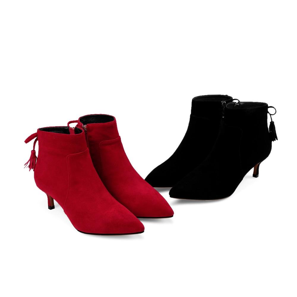 Ayakk.'ten Ayak Bileği Çizmeler'de Asumer kırmızı siyah moda sonbahar kış kadın çizmeler sivri burun fermuar çapraz bağlı bayan çocuk süet yüksek topuklu deri ayak bileği çizmeler'da  Grup 2