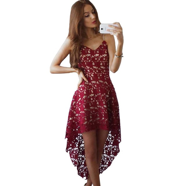 Yjsfg House 2017 Spring Summer Women Clothing Red White Lace Party Dresses Y Sleeveless V