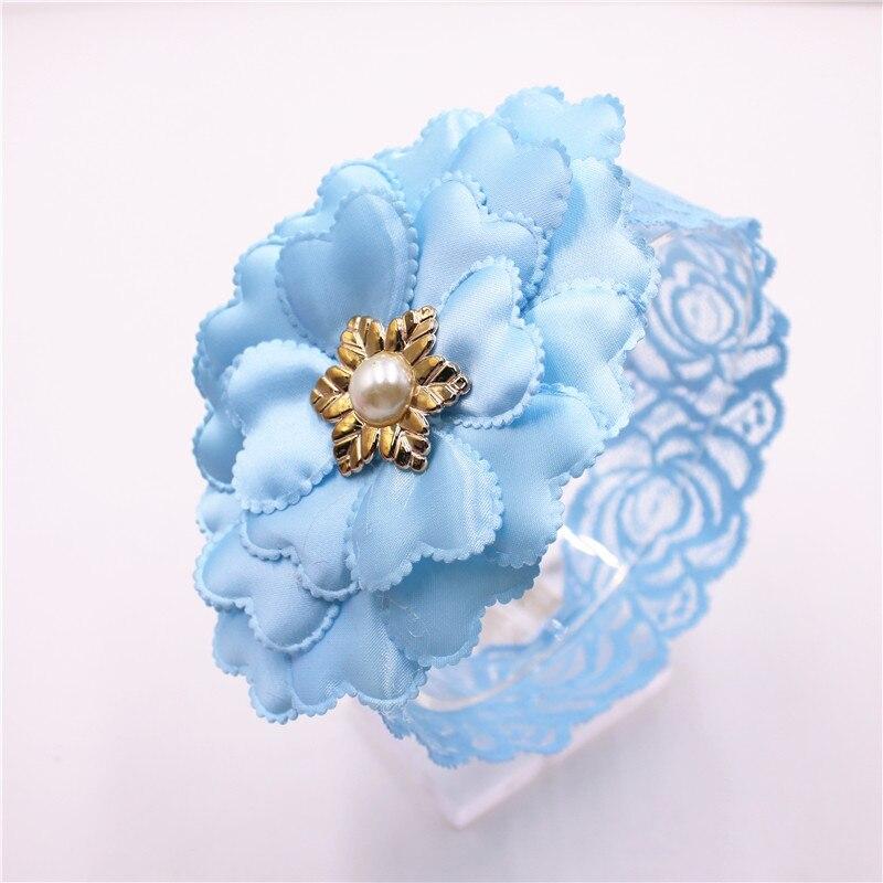 Ободок для волос с большим цветком, кружевной ободок с жемчугом для девочек, аксессуары для волос, 6 видов цветов