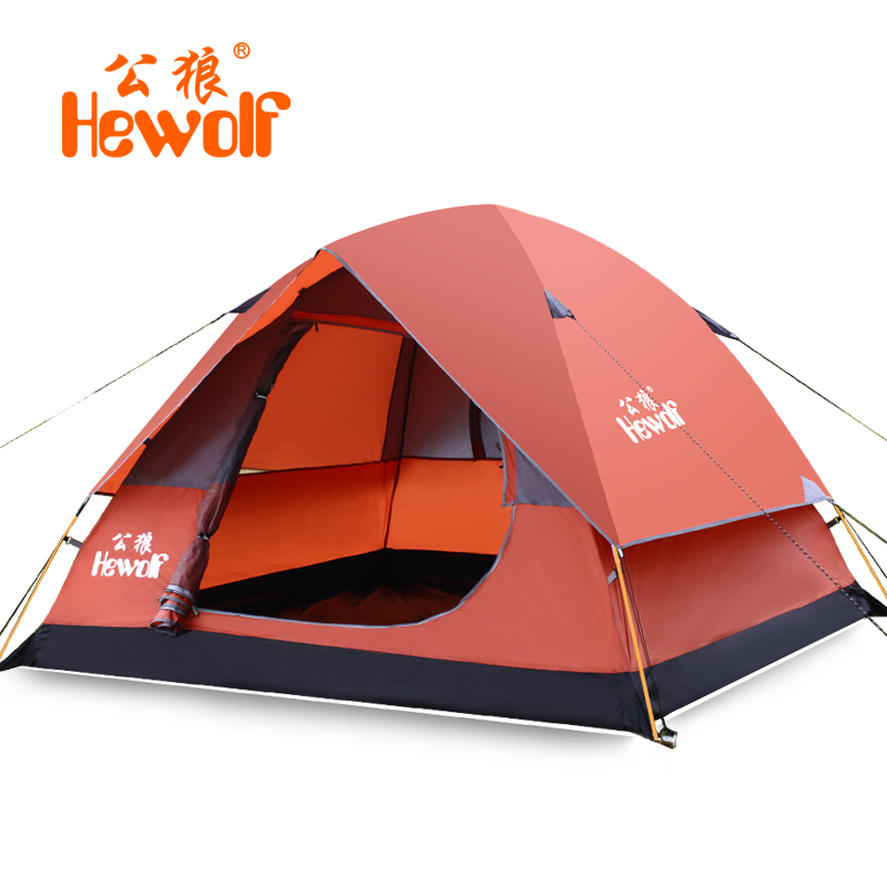 Hewolf 3-4 person Tents Windproof Waterproof Double Layer Tent Ultralight Outdoor Hiking Camping Tent Picnic tents DHL free