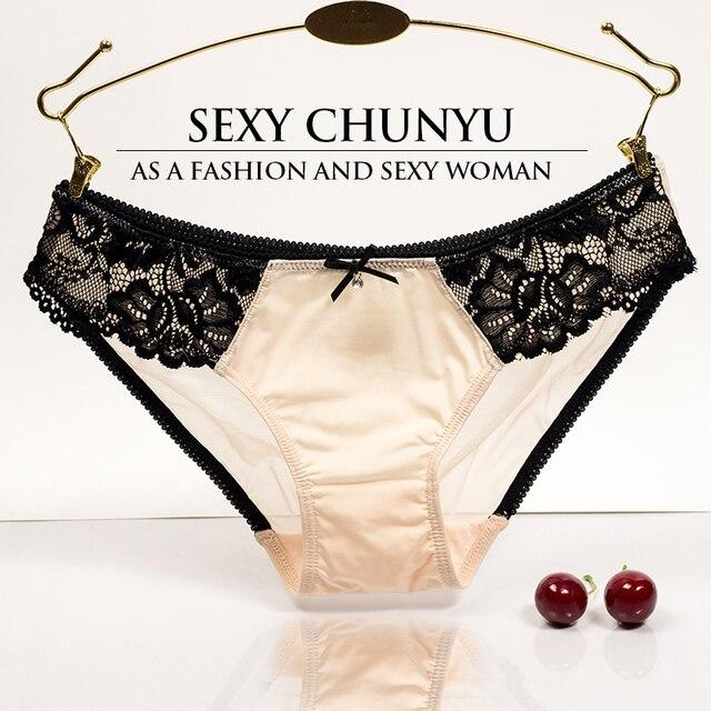 M L 2 Sizes European style sexy lace underwear ladies milk silk comfortable breathable bow tie low waist briefs discount