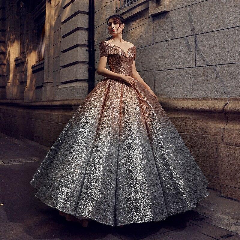 Robe De bal magnifique en or ruthéshen De luxe robes De Quinceanera brillantes hors De l'épaule Vestidos De 15 robe De Debutante seize douce - 6