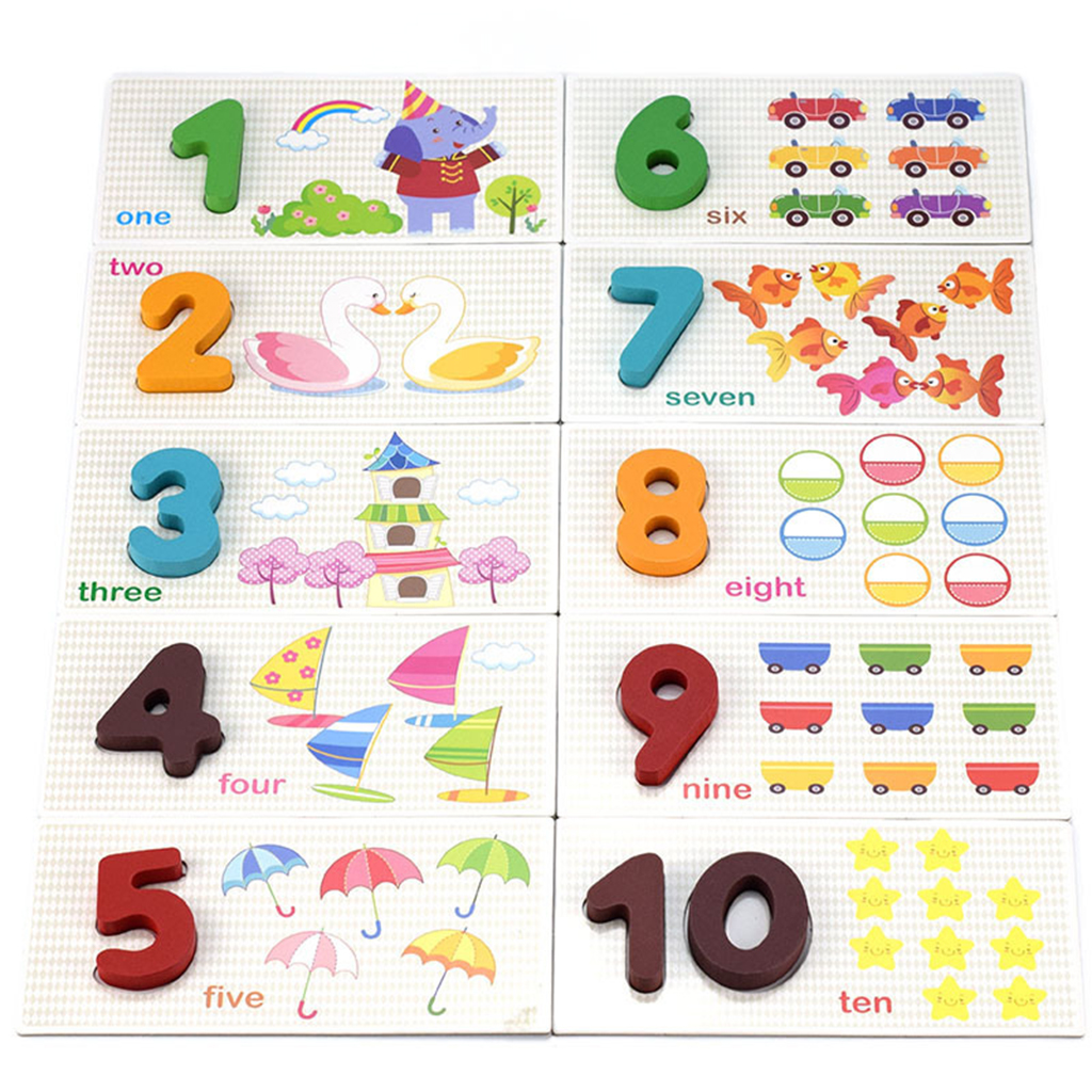 Wooden Number Toy Set Animal Patterns Math Card for Kids