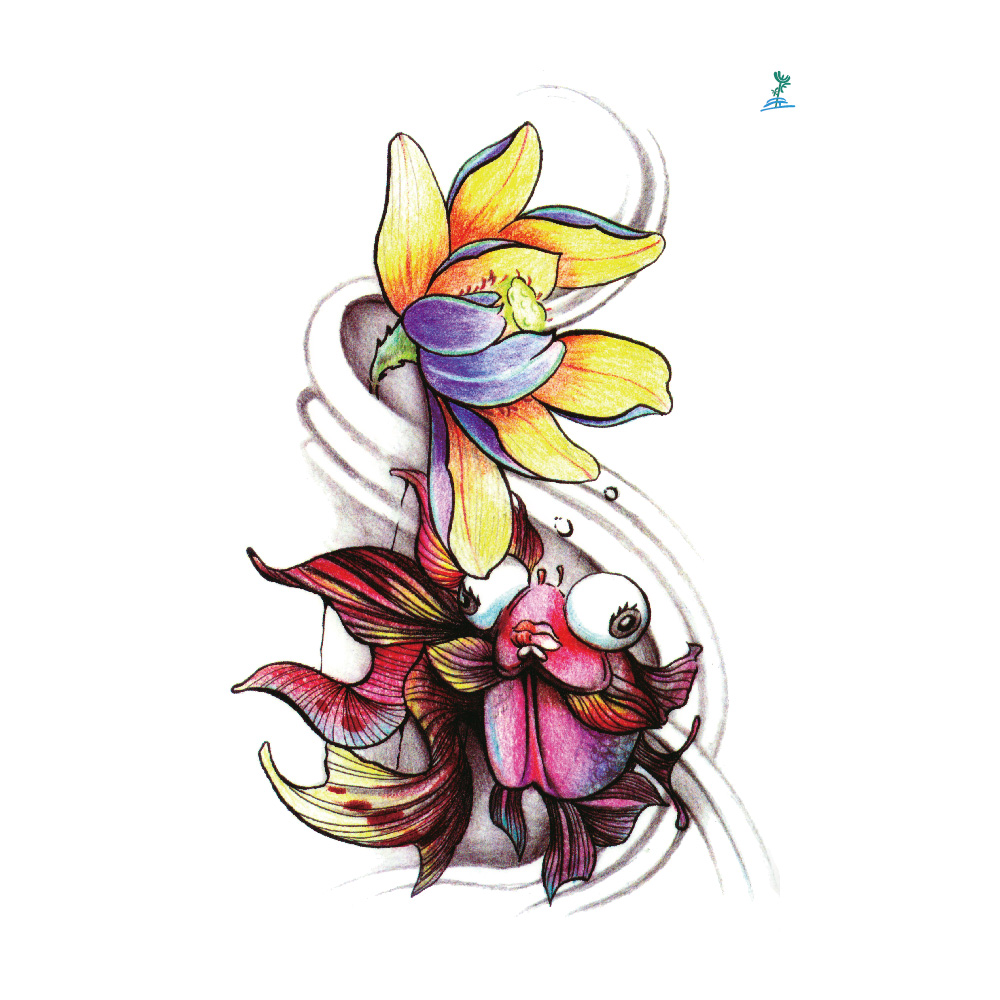 Yeeech Temporary Tattoos Sticker for Women Fake Sexy Animal Goldfish Lotus Designs Large Arm Leg Back Body Art Waterproof Makeup