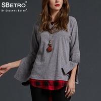 SBetro Plaid Blouses Shirts Shirttail Hem Crewneck Split Bell Sleeve Casual Autumn Women's Tunic Tops Pullover