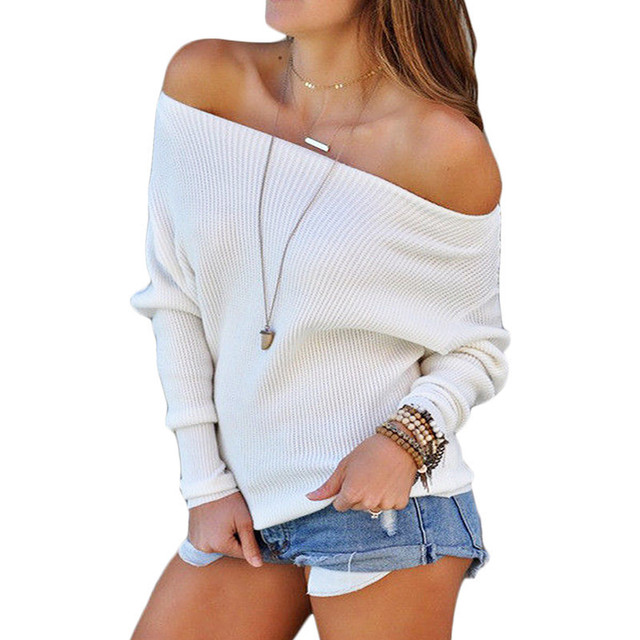 401bbddfaef Sexy Women Off Shoulder Sweater 2019 Casual Loose Solid Long Batwing Sleeve  Pullovers Cotton Knitted Sweater Jumper Plus Size