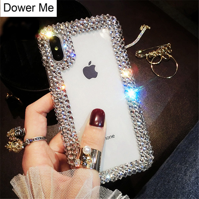 Dote Me Moda de Luxo DIY Bling Cristal Diamante Borda Transparente Tampa Da Caixa de Telefone Para o iphone XS Max XR X 8 7 6 6 s Plus 5 5S SE