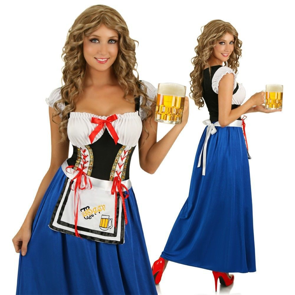 Bavarian Oktoberfest Long Dress Dirndl Outfit Ladies Beer Girl Wench Costume Bar Maid Waitress Costume