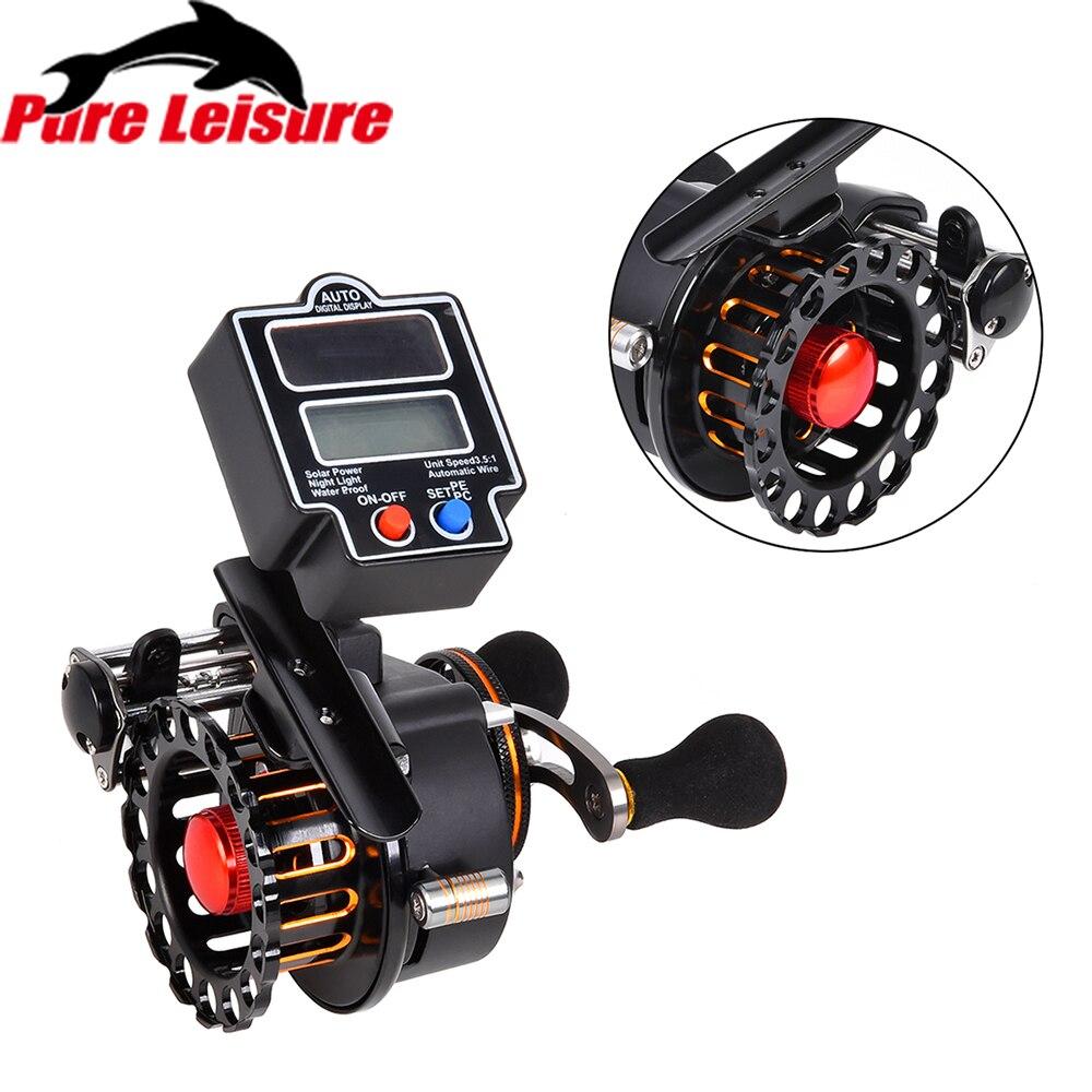 Moulinet de pêche PureLeisure 4 + 1 BB 3.5: 1 rapport de vitesse droite/gauche avec compteur de ligne numérique bobine de pêche en aluminium