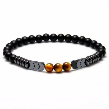 Trendy Natural Matte Black Onyx Beads With Tiger Eye Strand Bracelet