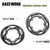 RACEWORK road bike chaindouble disc ellipse disc 110 bcd 35 50T chain