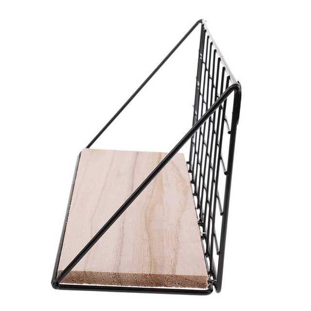 Nordic Wooden Iron Wall Floating Shelf Mounted Storage Rack Organization Bedroom Kitchen Home Kid Room Diy Decoration Holder 2