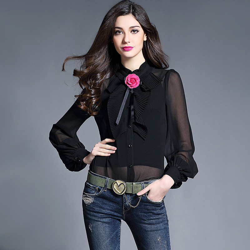 60ed9893449 Women Satin Blouse Shirt 2017 New Autumn Camellia Bow Lantern Sleeve  Fashion Real Silk Satin Blouses Shirt Women Tops Femme-in Blouses   Shirts  from Women s ...