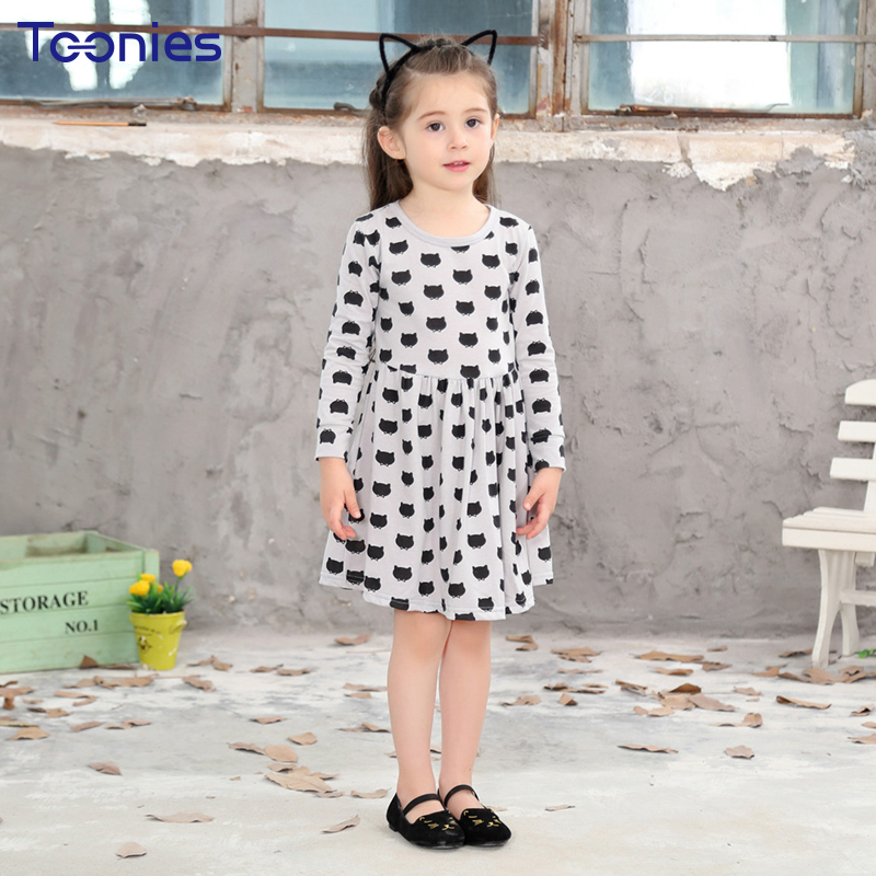Girls Clothing Girls Dress Autumn Cute Preppy Style Print Dresses For Girls Long Sleeve O-Neck Gray Toddler Children Clothes belababy baby girls preppy style dress princess children autumn double breasted cute kids casual long sleeve dresses for girls