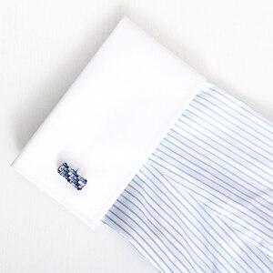 Image 5 - KFLK biżuteria koszula spinka do mankietu dla mężczyzn marka niebieski i biały kryształ spinki do mankietów luksusowy guzik ślubny wysokiej jakości goście