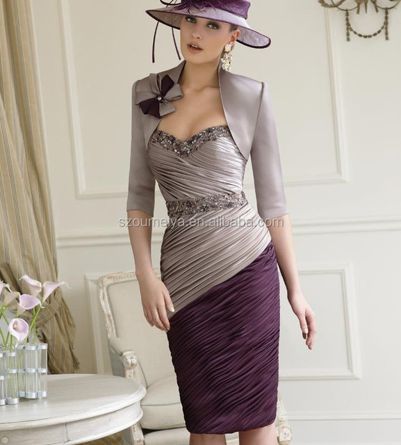 Oem286 With Half Sleeve Jacket Knee Length Taupe And Purple Mother Of The Bride Dresses