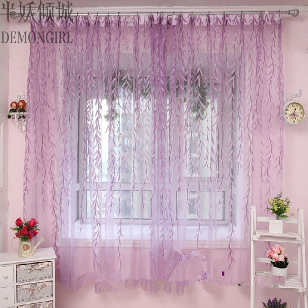 DEMONGIRL Fashion Purple Floral Printed Tulle Curtains For Living Room  Bedroom Sheer Voile Short Kitchen Lace Window Blinds 1PC