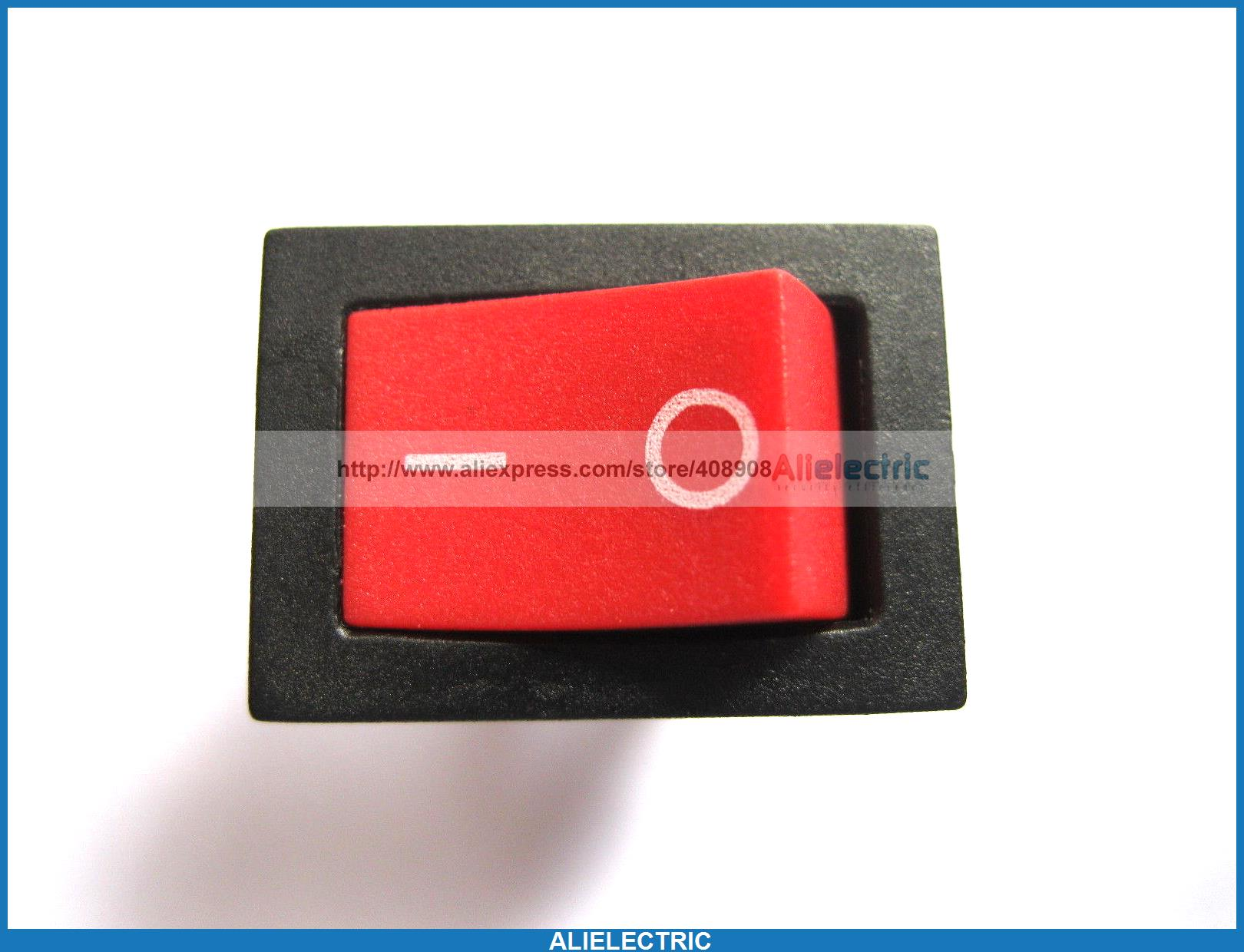 200 Pcs Rocker Switch KCD1 on Off Red Cap 2pin 6A 10A 21x15mm все цены