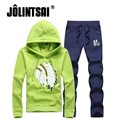 Jolintsai Casual Hooded Sportswear Men 2017 Spring Hoodies + Pants Mens Tracksuits Set Plus Size Print Men Sweatsuits 4xl