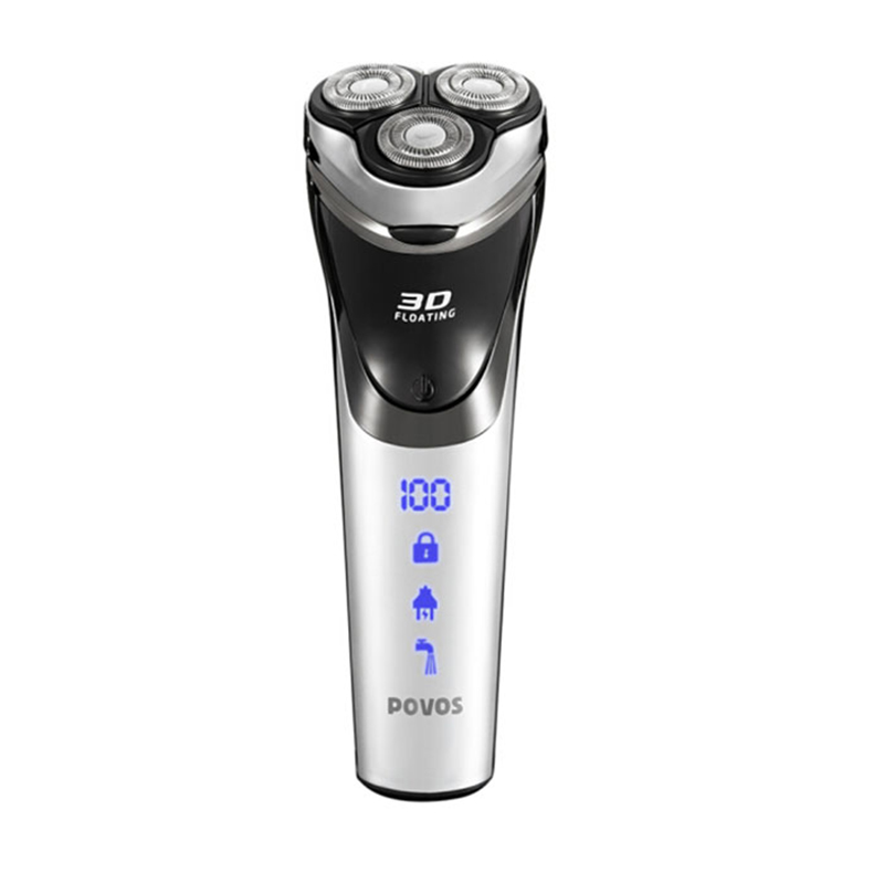 POVOS PW826 Rechargeable Electric Shaver Waterproof USB Interface Triple Blade Electric Razor With Full Washable Body For Men